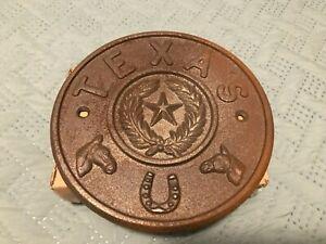 Raw Cast Iron Round Medallion Texas Lonestar State Western Sign Wall Rustic Farm