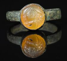 BAGUE INTAILLE SASSANIDE - 350 AD - SASSANIAN BRONZE INTAGLIO RING LION AND STAG
