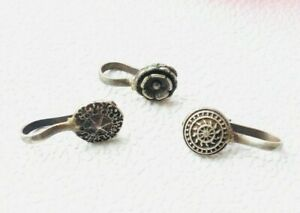 Lot Of 3 Indian Ethnic Nose Ring/Pins Silver Oxidised Women Tribal Jewellery