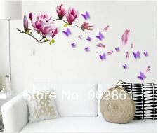 wall stickers butterfly purple magnolia flower removeable PVC decal decor home