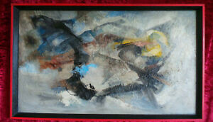 ABSTRACT OIL PAINTING ON A BOARD - MODERN ART 60s XX CENTURY.