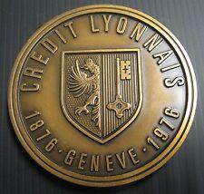 MÉDAILLE CREDIT LYONNAIS 1876-1976 GENEVE - ZURICH 1977 - 80 mm
