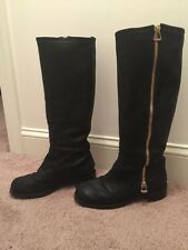 Jimmy Choo Black Rugged Suede Leather Doreen Knee High Boots Gold Zippers 39