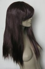cherry red long straight fringe quality hair wig fancy dress cosplay free cap