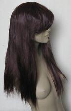 cherry red long straight fringe quality hair wig fancy dress cosplay free cap ne