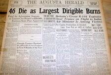 1930 headline newspaper R-101 Largest British airship DIRIGIBLE explodes -46 die