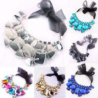 Womens Fashion  Large Crystal Choker Bib Statement Necklace Collar Chain Pendant