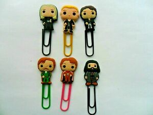 Lovely Set of  Six Harry Potter  Bobblehead Cartoon Bookmark Paperclips