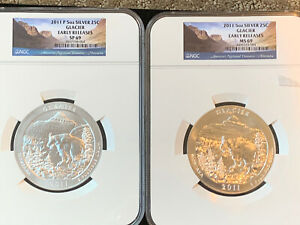 2 Pc Lot 5 Oz Silver 2011 Glacier National Park Early Release SP69 and MS69 NGC