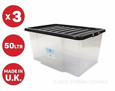 3 x 50LITRE PLASTIC STORAGE BOX, QUALITY CONTAINER WITH BLACK LID!!! CHEAP!!