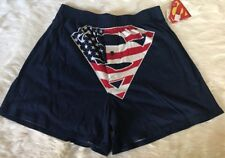 NWT Bioworld Superman Men US Flag Boxer Shorts Red White Blue Underwear Sz S