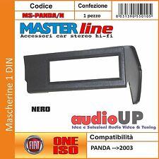 MASCHERINA AUTORADIO 1 DIN PER FIAT PANDAA FINO AL 2003 ADATTATORE UN DIN NERO