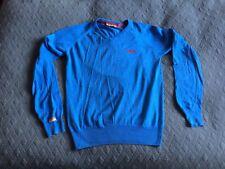 vtg Superdry bright blue V-neck jumper, sz M, 100% cotton, VGC