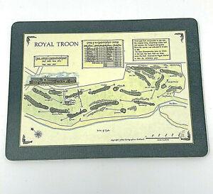 "Royal Troon Golf Course Map Tartan Rock Artist Drawing Print on Board 11.5""x8.5"""