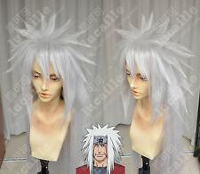 Naruto Jiraiya Silver Gray Anime Cosplay Costume Wig +Cap +free Track number