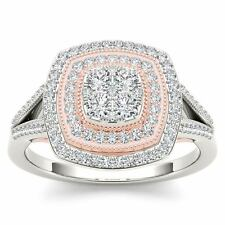 10K Pink Two Tone White Gold 0.50 Ct Round Cut Diamond Cluster Engagement Ring