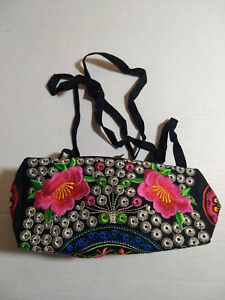 NEW Embroidered Black Floral Travel Zip Pouch Cosmetic Bag Clutch shoulder Purse