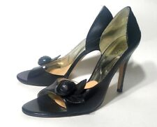 GUESS PUMPS HEELS OPEN TOE BLACK LEATHER WOMENS SHOES SIZE 8.5 M