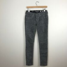 Miss Me Gray Flocked Leopard Print Skinny Jeans Cargo Signature Rise Size 26