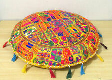 """Patchwork Embroidery Puff Pillow Round Cushion Cover Floor Handmade Bohemian 32"""""""