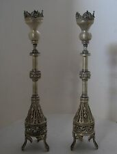 A PAIR OF VINTAGE ISRAELI SOLID SILVER CANDLE STICKS