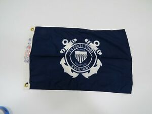 Old Used 12 inch x 18 inch Dura Lite US COAST GUARD AUX Flag Pennant (C2.5B385A)