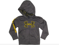 UNDER ARMOUR BOYS CHARCOAL SPIDER JACKET COAT HOOD GRAY YELLOW SIZE 6 EUC! $54