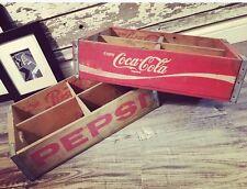 2 Vintage 1975 Pepsi & Coke Coca Cola Wood Soda Pop Crate 4 Divider