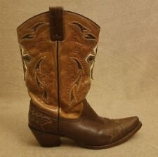 Corral Women Brown Cross Distress Leather Western Pull On Snip Toe Boots Sz 10 M
