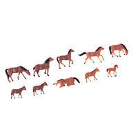 10 pièces 1/87 HO échelle chevaux modèle peint Animal Figure mise en page