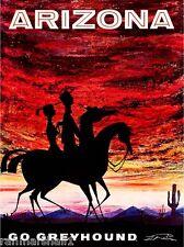 Arizona Vintage Greyhound United States America Travel Advertisement Art Poster