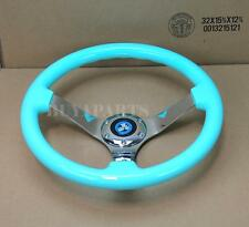 "14"" DIA 3"" Deep Tiffany Blue Wood Mirror Chrome S/S Spoke Steering Wheel + Horn"