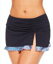 NWT $108 Profile by Gottex Skyline Black Skirted Swimsuit Bottom Plus Size 20W