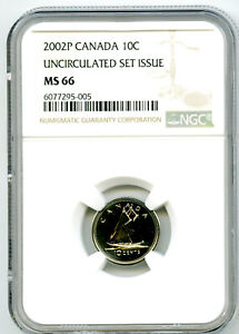 2002 P CANADA 10 CENT NGC MS66 UNCIRCULATED SET ISSUE DIME COIN POP=6 RARE