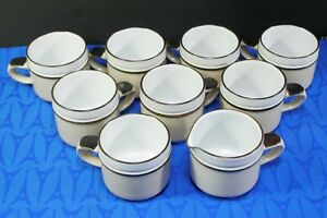 LOT of Denby Langley MADRIGAL: 8 Flat coffee / tea mugs / cups + 1 Creamer MINT!