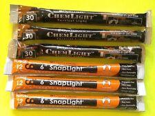 Lot of 6 Orange/White Cyalume Lightsticks Emergency Survival Prepper Bug Out Bag