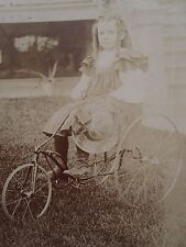 ANTIQUE VICTORIAN AMERICAN THREE WHEEL BICYCLE ANGEL CHICAGO CABINET CARD PHOTO