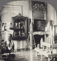 """WW1 Stereoview - """"Kamarad"""" & German War Trophies Displayed in a French Chateau"""