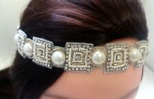 White Gold Pearl beads crystals Headband Bridal Wedding Hair Accessories N28/22