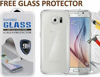 ULTRA THIN CLEAR TPU GEL SKIN CASE COVER & GLASS PROTECTOR FOR SAMSUNG GALAXY S6
