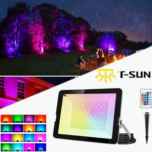 T-SUN RGB LED Fluter Bunt Wasserdicht IP65 Außenlampe Strahler Flutlicht 30W