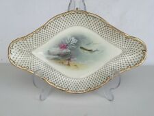 ALBERT WRIGHT Antique MINTONS Davis Collamore Aquatic FISH Painted Lozenge Dish