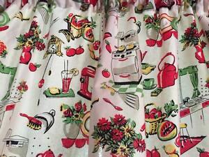 """Cream Retro Kitchen Curtain Valance Window Topper Cotton fabric 43""""W x 15""""L"""