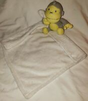 Baby Bum Monkey Lovey Security Blanket Gray Yellow White Sweater Knit Plush Toy