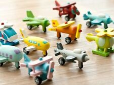 12 x Mini Aircraft Set Wooden Model Airplane Keyring Bundle Fun Gifts Corporate