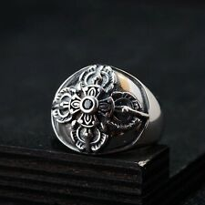 Solid 925 Sterling Silver Mens Heavy Tibetan Buddhism Ring Open Adjustable Size