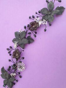 Handmade Gothic/Halloween inspired hair vine 10 inches Black