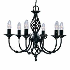 Searchlight Lighting 3379-6 Zanzibar 6 Light Black Pendant