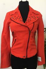 NWT Zara Basic Women Career Orange Cotton Blend Studded Zip Jacket Blazer Sz XS