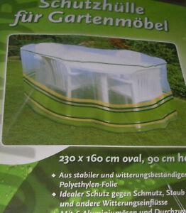 Schutzhülle  Abdeckhaube  Folie  für Gartenmöbel  bunt  230x160 oval 90cm hoch
